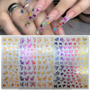 3d Nail Stickers Butterfly Christmas Gold White Line Nail Decals Decoration Tips