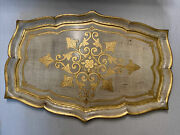 Vintage Gold Florentine Wood Serving Tray Italy 20andrdquox 13andrdquo