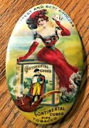 Celluloid Advertising Pocket Mirror Continental Cubes Pipe Tobacco Latest And Best