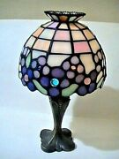 Vintage Floral Jeweled Stained Glass Style Tea Light Candle Lamp