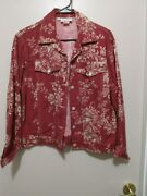 Ladies Monterey Bay Clothing Company Floral Jacket Size Large S Red White