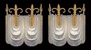 Pair Of Vintage Glass Double Wall Lights Kaiser/ Modernist Sconces 1970s