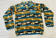 Synchilla Womenand039s Size Small Brown Teal Fleece Pullover Jacket Vintage