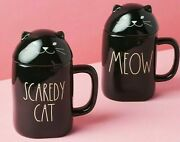 Rae Dunn Happy Halloween Spooky Scaredy Cat And Meow Mugs Set With Toppers 2021