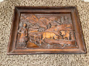 Vintage Carved Wood German Countryside Farm Wall Hanging.