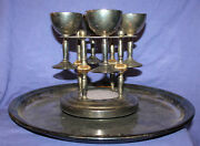 Vintage Silver Plated Set 4 Goblets Holder And Large Tray