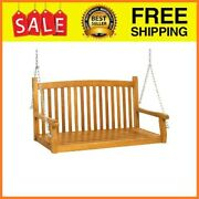 48in Wooden Curved Back Hanging Porch Swing Bench W/ Metal Chains For Patio Dec