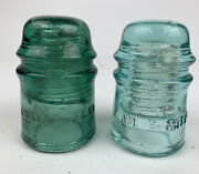Am Tel And Tel Co Vintage Antique Lot Of 2 Glass Electric Green Blue Insulators