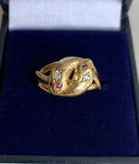 18ct Gold Victorian Double Headed Snake Ring Diamond And Ruby Stone Eyes 4.8g M