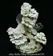 13.6 Chinese Natural White Dushan Jade Carving Fengshui Flower Birds Statue