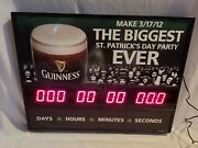 Guinness Beer St Patricks Day Lighted Electric Count Down Clock Sign-works Great