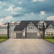 Aleko Stockholm Style Ornamental Iron Wrought Dual 12and039 Driveway Gate