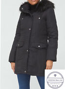 V By Very Curve Plus Expedition Faux Fur Hood Parka Black Size 24