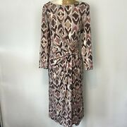 Laura Ashley Dress 18 Brown Tones Aztec Shift Stretch Patterned Plus Round Bnwt