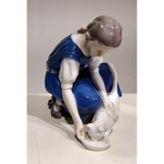 20th Original Denmark Bing And Grondahl Porcelain Figurine Girl And Cat Marked