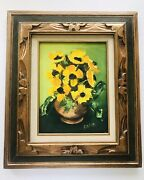 Vtg Mcm Original Floral 9x12 Oil Painting Signed Yellow Poppies Carved Frame