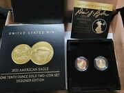 2021 American Eagle One-tenth Gold Two Coin Designer Set Rare Hand Signed Coa