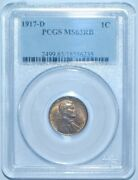1917 D Pcgs Ms63rb Red And Brown Lincoln Wheat Cent