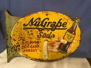 Collectible Rare Vintage Nugrape Die-cut Double Sided Sign W/flange
