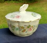 Aynsley China - Wild Tudor Pattern - Round Covered Powder Box - Butterfly Finial