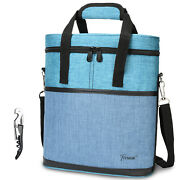 Wine Carrier Tote Bag Insulated 3 Bottle Cooler Carrying Case For Travel Picnic