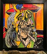 Old Master Picasso Large Canvas Oil Painting 20th Century In A Black Framed