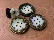 Vintage Buttons Set Of 3 Mother Of Pearl Sewing Buttons Antique