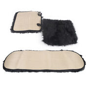 Front Rear Back Car Seat Cover Set Faux Wool Mat Pad Chair Cushion With Clip