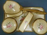 Vintage 1940s Vanity Dressing Table Set Lace Tray Mirror Brushes
