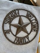 """Large Round Cast Iron Western Decor Welcome Friends And Family Very Nice New 11"""""""