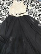 Formal Two Piece White Halter A-line Black Tulle Dress Sz 3 Free Shipping