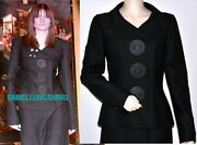 02a Iconic Vintage Black Jacket Blazer With Giant Leather Buttons38rare