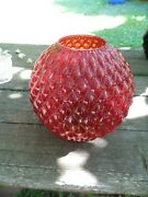 Vintage Fenton Ruby Red Diamond Quilt Ball Lamp Shade---81/2 H---3 3/4 Fitter