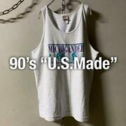90s Made In Usa Bicycle Print Tank Top Curio Size Grey Us Used Clothes