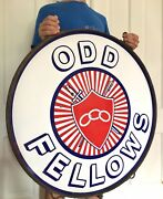 Antique Vtg Odd Fellows Porcelain Double Sided Sign Ring Gas Oil Soda Feed Seed