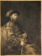 Framed Rembrandt Self Portrait Etching / Print Antiques And Unusuals Los Angeles