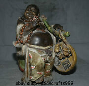 16 Old Chinese Wu Cai Porcelain Happy Laugh Maitreya Buddha Coins Wealth Statue