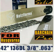 Holzfforma 3/8 .063 42 136dl Guide Bar And Chain For Husqvarna 395 480 562 570