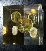 Limited Edition Vintage Paperweight 1964 Us 90 Real Silver Coins Half Dime..