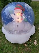 2005 Snowman Snowglobe Airblown Christmas Inflatable Light Up Yard Outdoor Deco