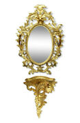 Set Mirror And Wall Console, Rococo Style, Early 1900 - Wood - French Antique