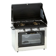 Portable Gas Grill 2-burners Heat Thermometer Porcelain-coated Steel Silver