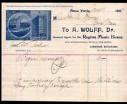 1897 Regina Music Boxes - New York - Dr A Wolff - History Letter Head Rare