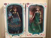 """Elsa And Anna Frozen Fever Disney Store Limited Edition 17"""" Dolls"""