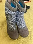 Euc Sorel Tremblant Mid Calf Blue Knit Uppers Gray Suede Bottoms Boots Size 8.5