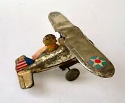 Vintage Marx Tin Litho Wind-up Toy Us Air Force Plane Airplane Works 1930s