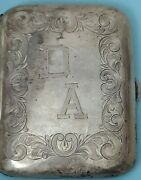 Antique Solid Silver Cigarette Case 2.5 X 3.25 With Foliate Engraving