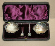 Antique English Sterling Silver Scallop Salt Cellars And Spoons Original Case 1898