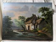 Vtg Original Oil Painting On Board English Landscape Painting Thatched Cottage