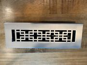 Signature Hardware Brushed Nickel Waffle Brass Floor Register With Louvers 2
